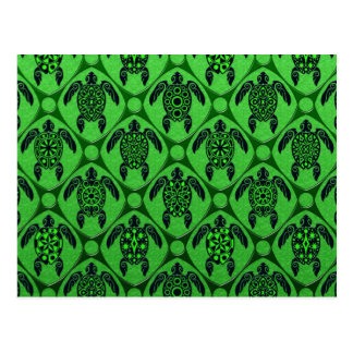 Green and Black Sea Turtle Pattern Postcard