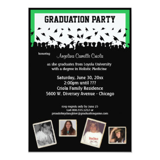 Green And Black Silhouette Graduation Party 5x7 Paper Invitation Card