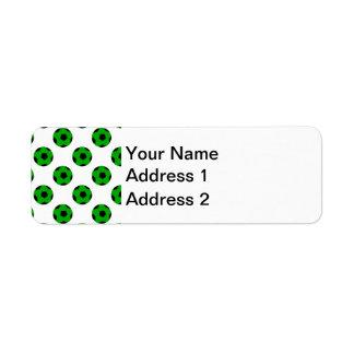 Green and Black Soccer Ball Pattern Return Address Label