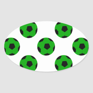 Green and Black Soccer Ball Pattern Oval Sticker