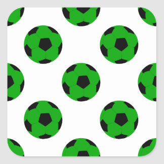 Green and Black Soccer Ball Pattern Square Sticker