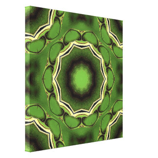 Green and black spiral design canvas print
