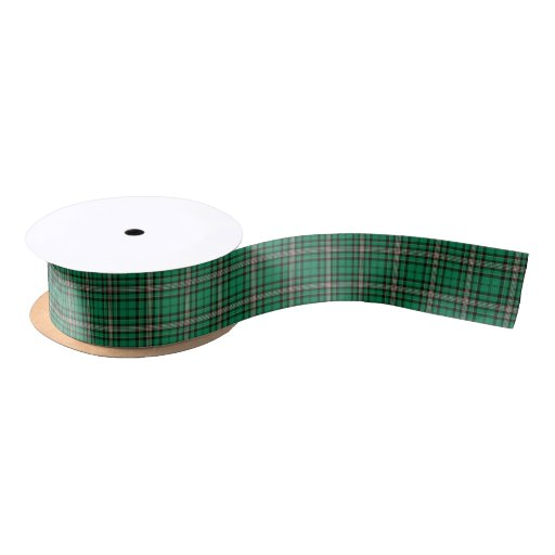Green and Black Sporty Plaid Satin Ribbon