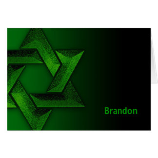 Green and Black Star of David Thank You Stationery Note Card