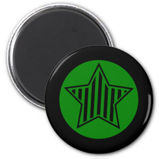 Green and Black Star Round Magnet