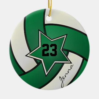 Green and Black Star Volleyball Christmas Tree Ornament