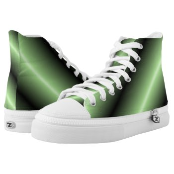 Green and Black Stripe High-Top Sneakers