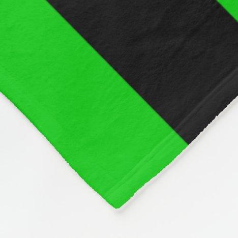 Green and Black Striped Fleece Blanket