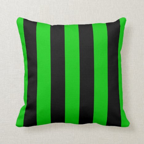 Green and Black Striped Throw Pillow