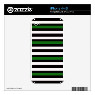 Green and Black Stripes Decal For The iPhone 4S
