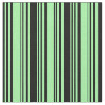 [ Thumbnail: Green and Black Stripes/Lines Pattern Fabric ]
