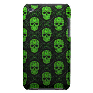 Green and Black Sugar Skull Pattern iPod Touch Cover