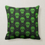 Green and Black Sugar Skull Pattern Pillow