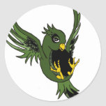 Green and Black Swallow Classic Round Sticker