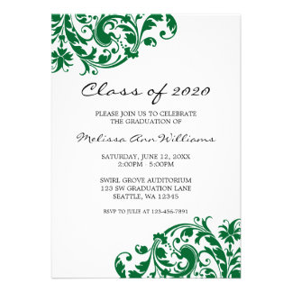 Green and Black Swirl Graduation Announcement