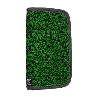 Green and Black Swirls Folio Planners