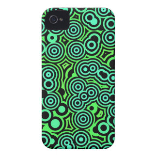 Green and Black Swirly Circles iPhone 4 Cover