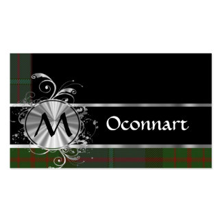 Green and black tartan monogram business card template