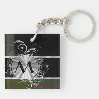 Green and black tartan plaid monogram Double-Sided square acrylic keychain
