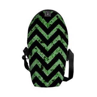 Green and Black Textured Chevron Handbag Messenger Bag