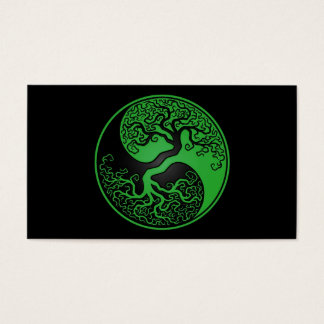 Green and Black Tree of Life Yin Yang Business Card