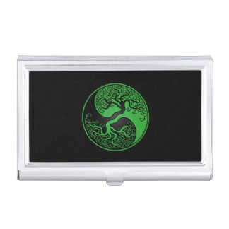 Green and Black Tree of Life Yin Yang Business Card Holders
