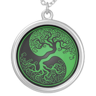 Green and Black Tree of Life Yin Yang Silver Plated Necklace