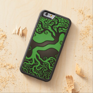 Green and Black Tree of Life Yin Yang Carved® Maple iPhone 6 Bumper