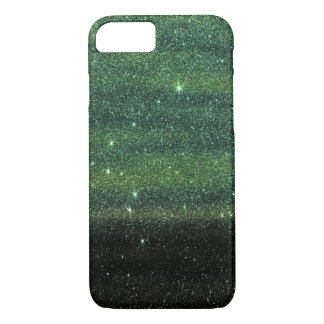 Green and Black Trendy Gradient Glitter iPhone 7 Case