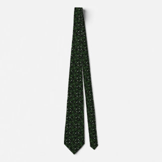 Green and Black Tribal Lizard Pattern Neck Tie