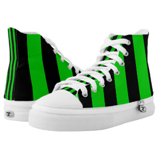 Green and Black Vertically-Striped Hi-Top Printed Shoes