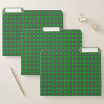 Green and Black Watercolor Plaid Check Folders