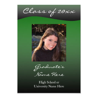 Green and Black Wave 5x7 Graduation Announcement