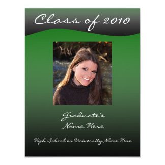 Green and Black Wave Graduation Announcement