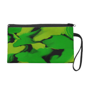 Green and Black Wavy Design Wristlet Clutches