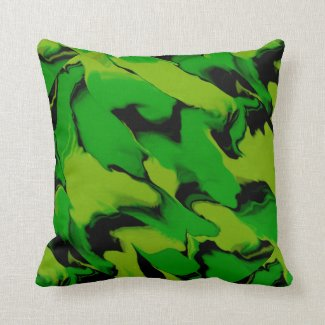 Green and Black Wavy Pillow