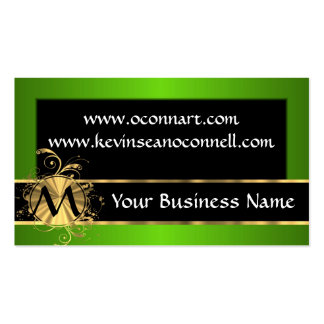 Green and black with monogram business card template