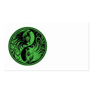 Green and Black Yin Yang Cats Business Card Templates