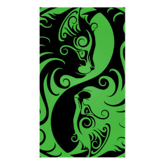 Green and Black Yin Yang Cats Business Card Template