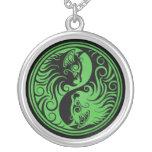 Green and Black Yin Yang Cats Custom Necklace
