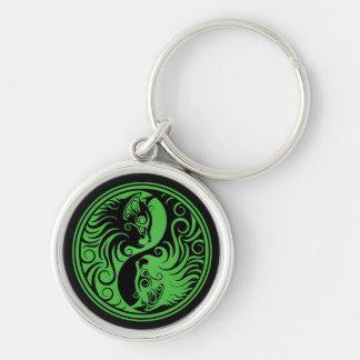 Green and Black Yin Yang Cats Keychain