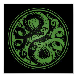 Green and Black Yin Yang Chinese Dragons Poster