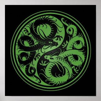 Green and Black Yin Yang Chinese Dragons Poster