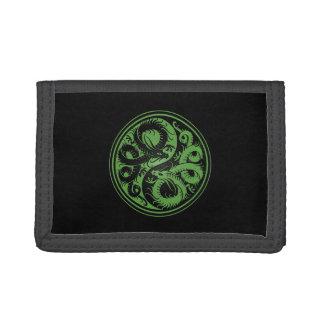 Green and Black Yin Yang Chinese Dragons Trifold Wallet