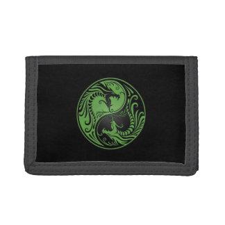 Green and Black Yin Yang Dragons Trifold Wallet