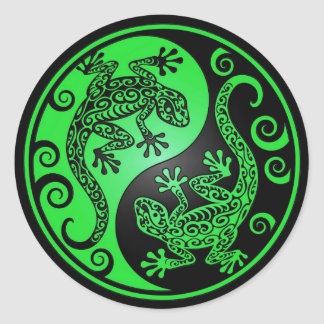 Green and Black Yin Yang Geckos Classic Round Sticker