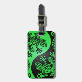 Green and Black Yin Yang Geckos Tags For Luggage