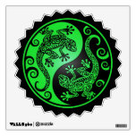 Green and Black Yin Yang Geckos Wall Decal