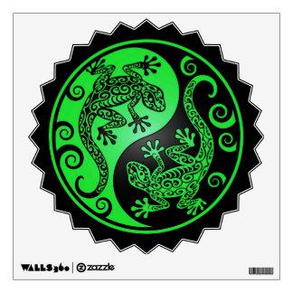 Green and Black Yin Yang Geckos Wall Sticker