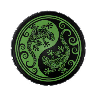 Green and Black Yin Yang Lizards Jelly Belly Tins